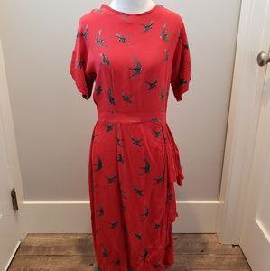 ASOS red Bird Print dress size 10